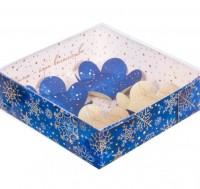 Коробка с прозрачной крышкой Снежинки 12*12*3, 1 шт - Все для мыла ручной работы - интернет-магазин Blesk-ekb.ru, Екатеринбург